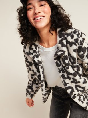 Old Navy Cozy Sherpa Snap-Front Flurry Crop Jacket for Women