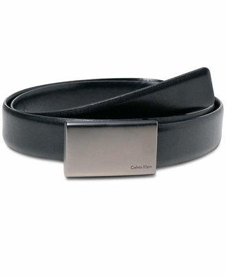 Calvin Klein 30mm Gunmetal Plaque Buckle Dress Belt $45 thestylecure.com