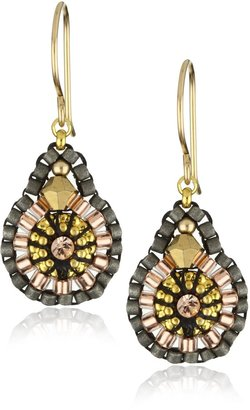 Miguel Ases Swarovski and Rose Gold Beaded Earrings