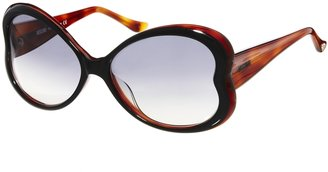 Moschino Black And Tortoise Retro Full Rim Sunglasses