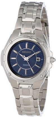 Seiko Women's SXDB45 Silver-Tone Blue Dial Dress Watch $295 thestylecure.com