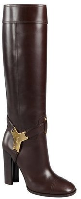 Yves Saint Laurent chocolate leather stacked heel 'Thelma' tall boots