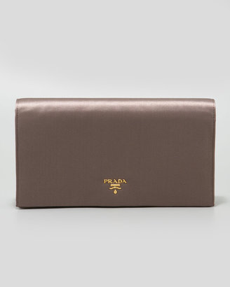 Prada Satin Flap Clutch Bag