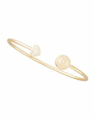 Sarah Chloe Elle Diamond-Heart Monogrammed-Disc Bangle, Gold