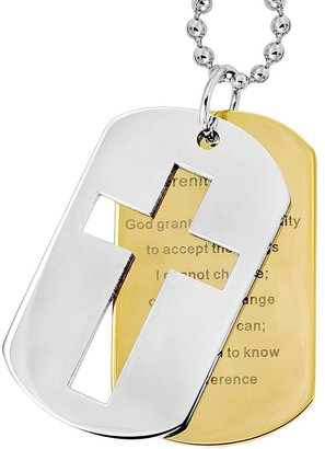 Stainless Steel & Gold Tone Immersion-Plated Stainless Steel Serenity Prayer Dog Tag - Men