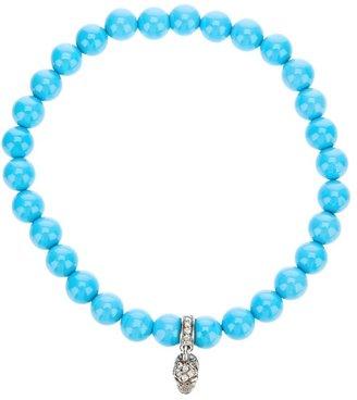 Loree Rodkin turqoise beaded diamond skull charm bracelet