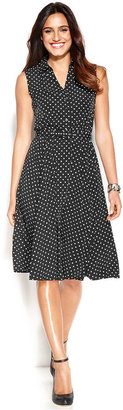 Alfani Sleeveless Belted Polka-Dot Dress
