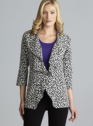 Calvin Klein Shawl Collar Animal Print Open Jacket