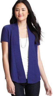 LOFT Textured Cotton Short Sleeve Cardigan