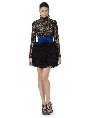 Oscar de la Renta Long Sleeve High Neck Gardenia Guipure Dress