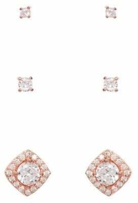 Cezanne Set of 3 Rose Goldtone Crystal Earrings Set