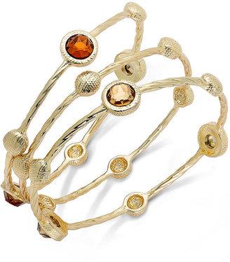 Charter Club Gold-Tone Topaz-Colored Bangle Bracelet Set