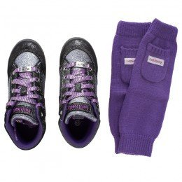 Lelli Kelly Kids Purple Glitter Sneakers with Cuffs