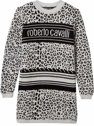 Roberto Cavalli Grey and Black Leopard Print Logo Jumper Dress