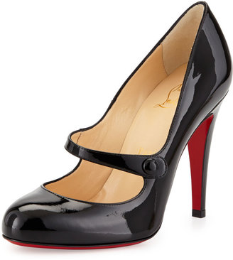 Christian Louboutin Charleen Mary Jane Red Sole Pump, Black