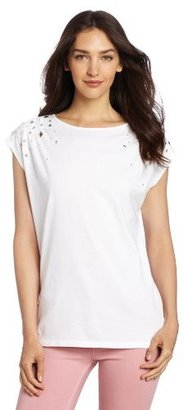 Chaus Women's Short Sleeve Top with Shoulder Embellishment