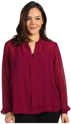 Kenneth Cole New York - Plus Size Solid Tuxedo Top (Atomic Orchid) - Apparel