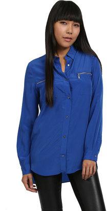 Zoa Rose Skin Zip Pocket Button Up in Major Blue