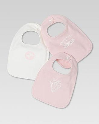 Gucci Set of Three Logo Bibs, White/Light Pink
