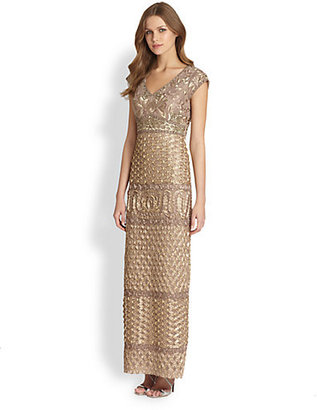Sue Wong Embroidered Cap-Sleeve Gown