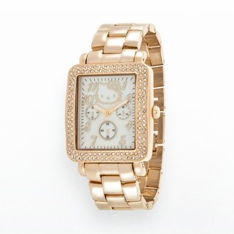 Hello Kitty gold tone simulated crystal & mother-of-pearl watch - women