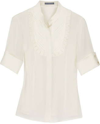 Alexander McQueen Silk-georgette pleated blouse