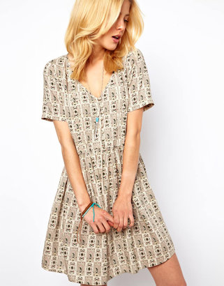 Asos Smock Dress In Paisley With Button Through Detail - Multi