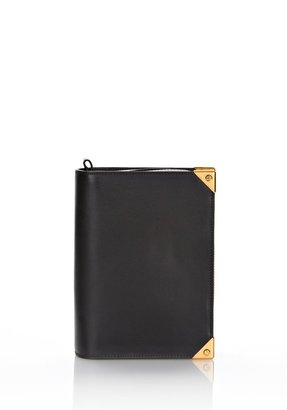 Alexander Wang Prisma Book Clutch In Black Leather With Gold