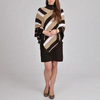 Lennie for Nina Leonard Women's Sweater Dress Striped Poncho $53.99 thestylecure.com