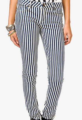 Forever 21 Vertical Striped Skinny Jeans