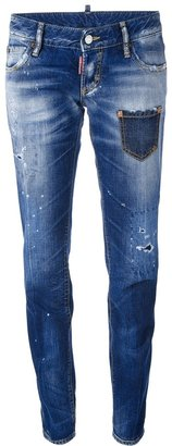 DSquared DSQUARED2 distressed whiskering jeans