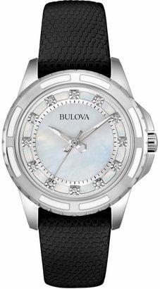 Bulova Women's Diamond Accent Black Leather Strap Watch 32mm 98P139 $275 thestylecure.com