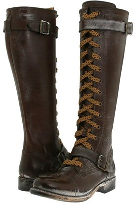 Frye Jenna Cap Toe Lace Up (Dark Brown Full Grain Leather) - Footwear