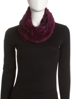 Adrienne Landau Knit Rabbit Fur Infinity Scarf, Magenta