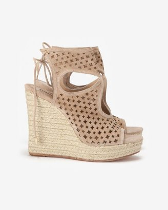 Aquazzura Lasercut Suede Wedge Sandal