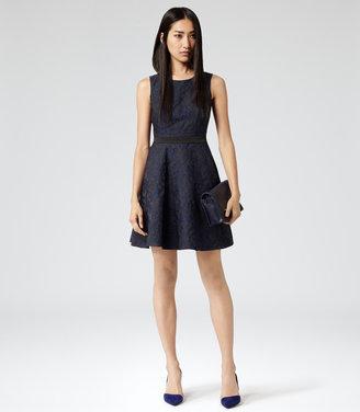Reiss Natalie Blu TWO TONE FIT & FLARE DRESS