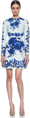 Valentino Flare Skirt Silk-Blend Dress in Blue Multi