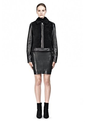 Alexander Wang Grizzly Shearling Motorcycle Leather Jacket