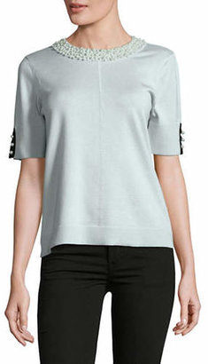 Karl Lagerfeld PARIS Embellished Faux-Pearl Short Sleeve Sweater