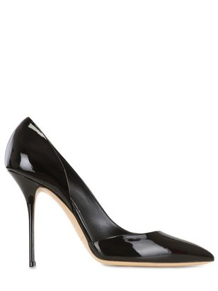 Casadei 110mm Patent Leather Asymmetric Pumps