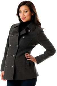A Pea in the Pod Button Front Wool Maternity Peacoat