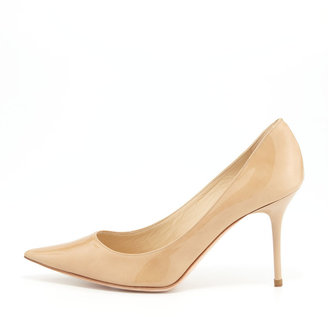 Jimmy Choo Agnes Pointed-Toe Patent Pump, Nude