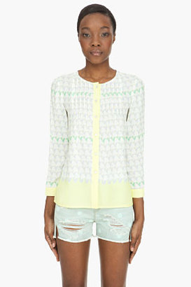 Marc by Marc Jacobs Off-white Burnside Print silk blouse