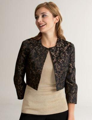 Ann Taylor Loft Scroll Brocade Collarless Jacket