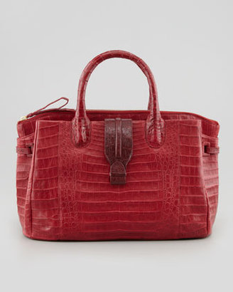 Nancy Gonzalez Cristina Medium Center-Zip Crocodile Tote Bag, Red