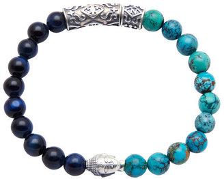 Nialaya Jewelry - Men'S Beaded Bracelet With Blue Tiger Eye And Bali Turquoise