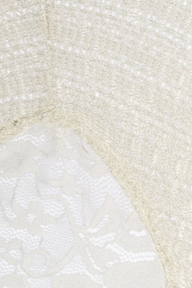 LnA Lace-embellished crochet-knit cotton-blend sweater