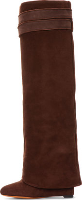 Givenchy Brown Suede Shark Lock Column Wedge Boots