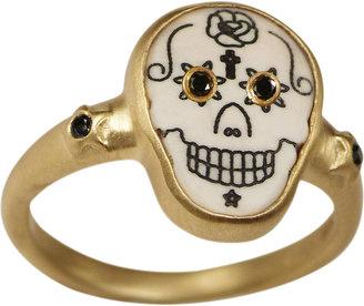 Me & Ro Me&Ro Large Scrimshaw Skull Ring with Black Diamond Eyes