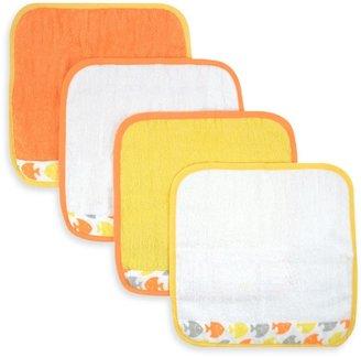 Just Born Sea Brights Fish 4-Pack Washcloth Set in Yellow/Orange